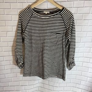 Thyme & Honey Black And White Striped Top Sz M
